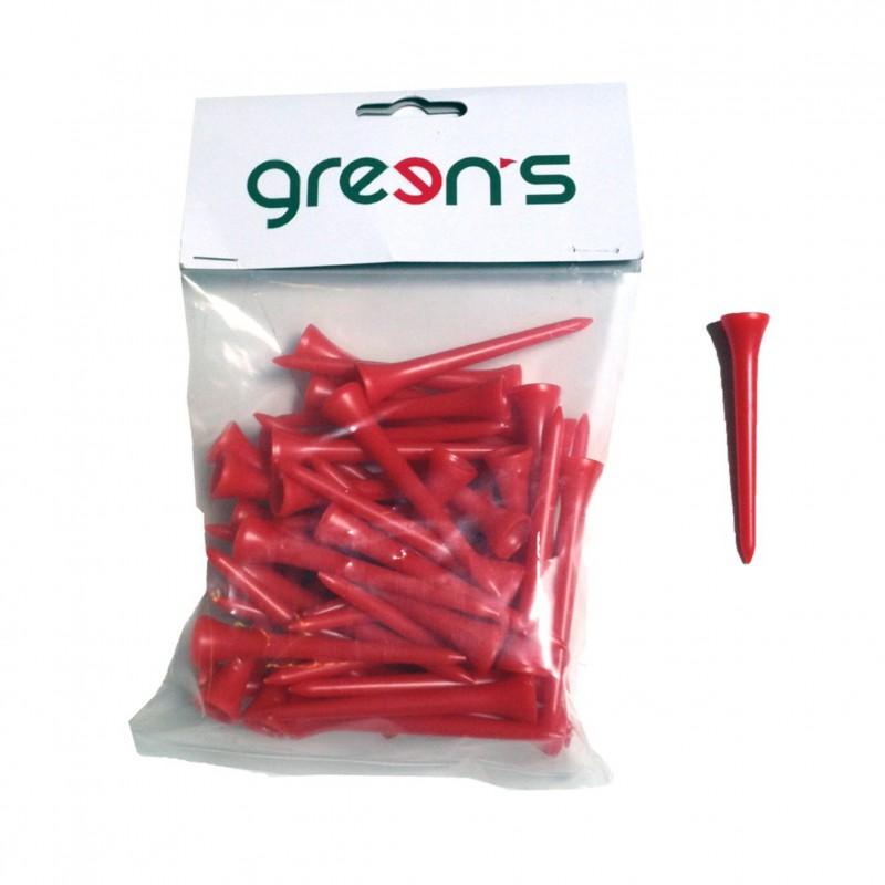 50 TEES PLASTIC 70MM - GREEN'S